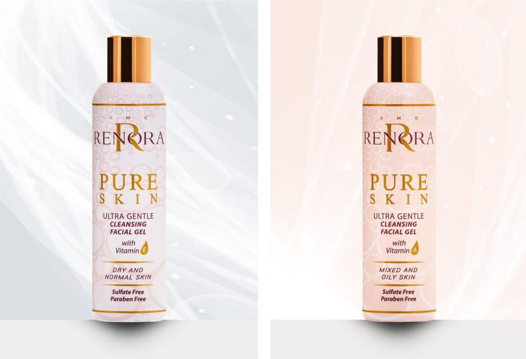 Perfectly cleaned and hydrated skin with the Ultra Gentle Cleansing Facial Gel PURE SKIN from Renora Cosmetics