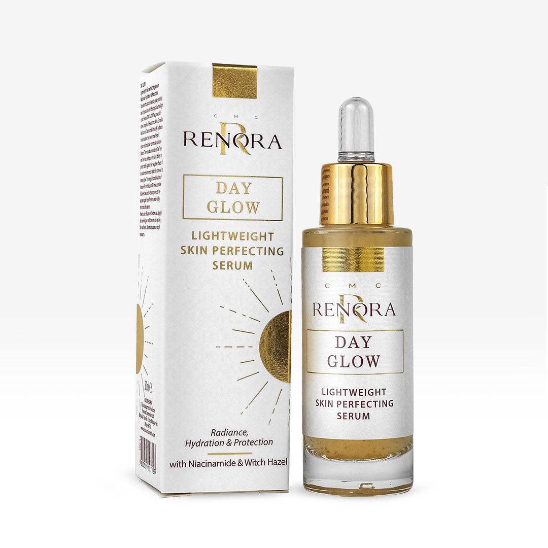 Дневен серум за лице Renora Day Glow Ултра Лек Усъвършенстващ Серум Сияние, Хидратация и Защита на кожата